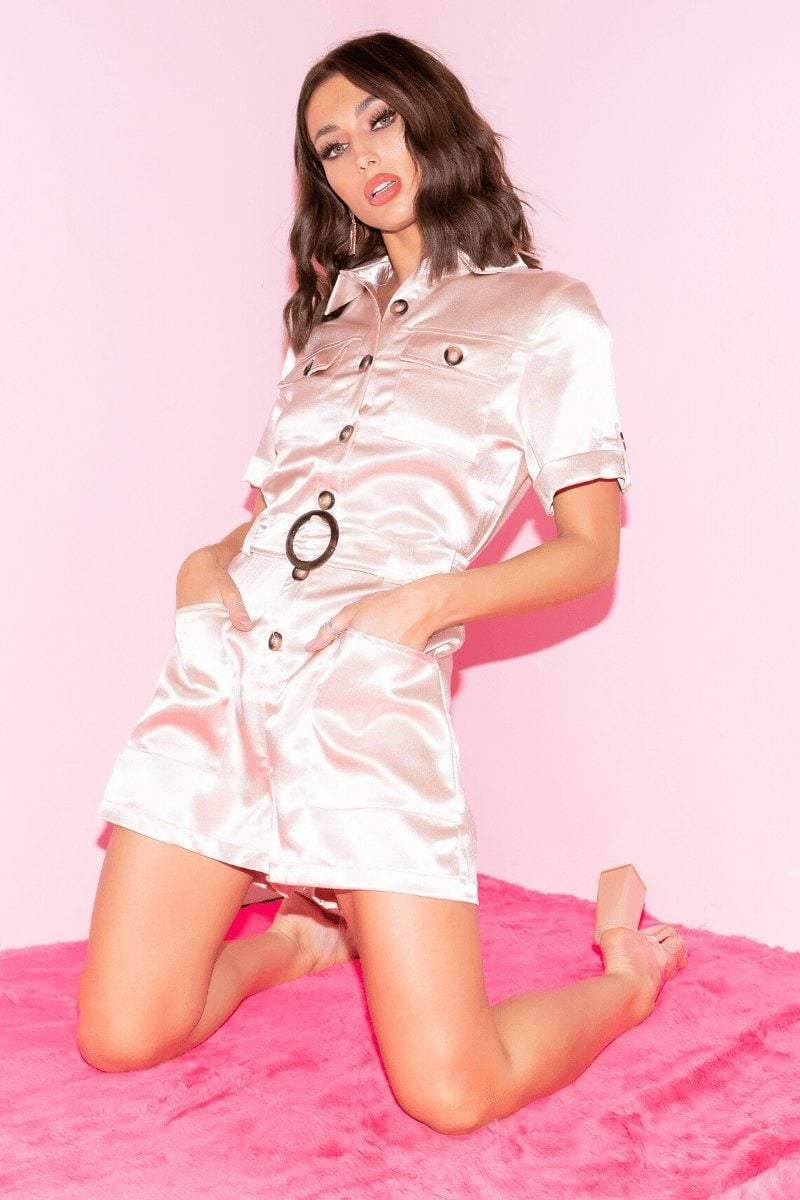 Nude Silk Belted Playsuit - 6